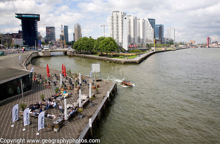 River Maas waterfront Leuvehaven entrance, Rotterdam, Netherlands