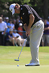 Lee westwood lines up his putt ont he 6th.during round three of the BMW PGA championship 2010 at Wentworth golf club, Surrey England..Picture Fran Caffrey/Newsfile.ie