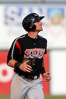 Kyle Gaedele #12 of the Lake Elsinore Storm during a game against the Inland Empire 66'ers at San Manuel Stadium on June 23, 2013 in San Bernardino, California. Lake Elsinore defeated Inland Empire, 6-2. (Larry Goren/Four Seam Images)