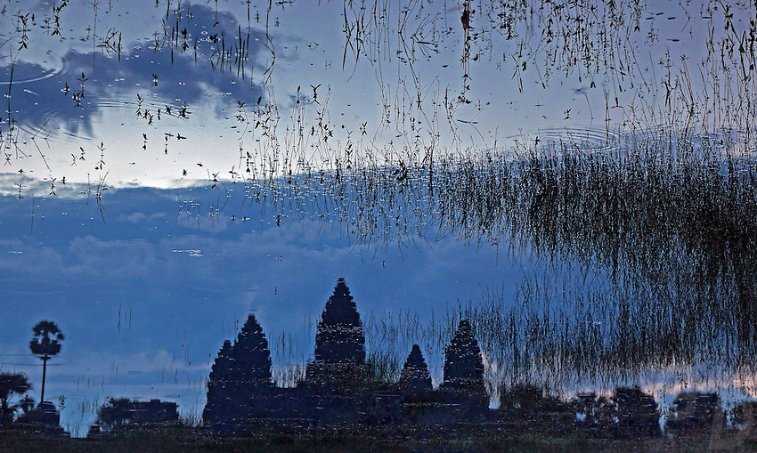 Abstract reflections of Angkor Wat in Water, Cambodia
