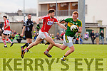 Johnny Buckley Kerry in action against Tom Clancy Cork in the National Football league in Austin Stack Park, Tralee on Sunday.