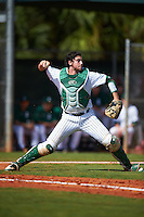 Eastern Michigan Eagles catcher Robert Iacobelli (49) throws down to second base during a game against the Dartmouth Big Green on February 25, 2017 at North Charlotte Regional Park in Port Charlotte, Florida.  Dartmouth defeated Eastern Michigan 8-4.  (Mike Janes/Four Seam Images)