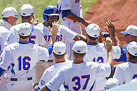 Florida Gators third baseman Josh Tobias (11) celebrates after scoring against the Virginia Cavaliers in Game 11 of the NCAA College World Series on June 19, 2015 at TD Ameritrade Park in Omaha, Nebraska. The Gators defeated Virginia 10-5. (Andrew Woolley/Four Seam Images)
