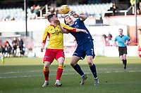 8th February 2020; Dens Park, Dundee, Scotland; Scottish Championship Football, Dundee versus Partick Thistle; Christophe Berra of Dundee challenges for the ball with Lee O'Connor of Partick Thistle