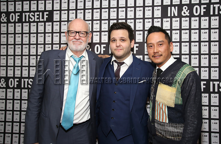Frank Oz, Derek DelGaudio and Glenn Kaino attend the Opening Night after party for 'In & Of Itself' at ACE Hotel on April 12, 2017 in New York City.