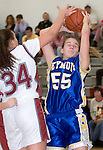 NAUGATUCK, CT- 02 JAN 06- 010207JT09- <br /> Seymour's Caitlin Eastwood Jess Biercevicz winces as Naugatuck's Debora DaSilva blocks her during Tuesday's game at Naugatuck. Seymour won 41-44.<br /> Josalee Thrift Republican-American