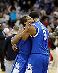 Brandon Knight hugs Terrence Jones after UK's Sweet 16 NCAA tournament win, 62-60 against 1 seed Ohio State at the Prudential Center in Newark, New Jersey on Friday, March 25, 2011.  Photo by Britney McIntosh | Staff