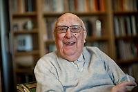 Roma, 7 Febbraio, 2013. Lo scrittore Andrea Camilleri nella sua casa romana.