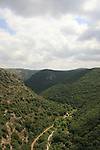 Israel, Upper Galilee, a view of Wadi Kziv from Park Goren