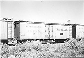 Side view of D&amp;RGW short reefer #45 in train at Alamosa.<br /> D&amp;RGW  Alamosa, CO  Taken by Maxwell, John W. - 1958