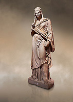 Roman statue of Plancia Magna a prominent woman from Anatolia who lived between the 1st century and 2nd century in the Roman Empire. Marble . Perge. 2nd century AD. Inv no 3459 . Antalya Archaeology Museum; Turkey. Against a warm art background.