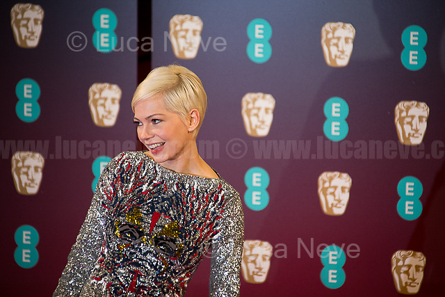 Michelle Williams.<br /> <br /> London, 12/02/2017. Red Carpet of the 2017 EE BAFTA (British Academy of Film and Television Arts) Awards Ceremony, held at the Royal Albert Hall in London.<br /> <br /> For more information please click here: http://www.bafta.org/