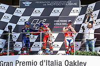 Ducati's Team rider Italian Andrea Dovizioso, winner, Maverick ViÒales of Spain  and Movistar Yamaha MotoGP second, Danilo Petrucci of Italy and OCTO Pramac Racing third during the Moto GP Grand Prix at the Mugello race track on June 4, 2017 celebrates on the podium. <br /> MotoGP Italy Grand Prix 2017 at Autodromo del Mugello, Florence, Italy on 4th June 2017. <br /> Photo by Danilo D'Auria.<br /> <br /> Danilo D'Auria/UK Sports Pics Ltd/Alterphotos /NortePhoto.com
