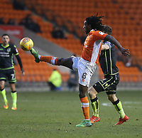 Blackpool's Sessi D'Almeida evades the tackle of Bristol Rovers' Tom Lockyer<br /> <br /> Photographer Stephen White/CameraSport<br /> <br /> The EFL Sky Bet League One - Blackpool v Bristol Rovers - Saturday 13th January 2018 - Bloomfield Road - Blackpool<br /> <br /> World Copyright &copy; 2018 CameraSport. All rights reserved. 43 Linden Ave. Countesthorpe. Leicester. England. LE8 5PG - Tel: +44 (0) 116 277 4147 - admin@camerasport.com - www.camerasport.com