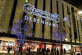 Debenhams Oxford Street store decorated for the Christmas shopping season.
