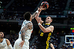 Real Madrid Jeffery Taylor and Iberostar Tenerife Mateusz Ponitka during first match quarter finals of Liga Endesa Playoff between Real Madrid and Iberostar Tenerife at Wizink Center in Madrid, Spain. May 27, 2018. (ALTERPHOTOS/Borja B.Hojas)