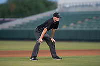 Field umpire Benjamin Engstrand during an Arizona League game between the AZL Indians 2 and the AZL Angels at Tempe Diablo Stadium on June 30, 2018 in Tempe, Arizona. The AZL Indians 2 defeated the AZL Angels by a score of 13-8. (Zachary Lucy/Four Seam Images)