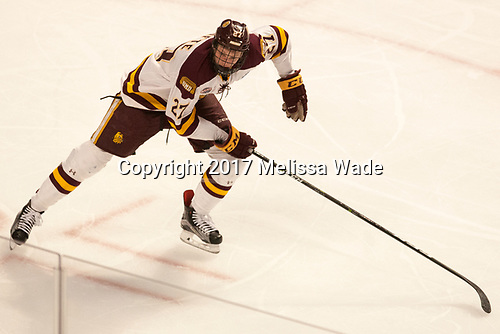 Riley Tufte (UMD - 27) - The University of Minnesota Duluth Bulldogs defeated the Harvard University Crimson 2-1 in their Frozen Four semi-final on April 6, 2017, at the United Center in Chicago, Illinois.