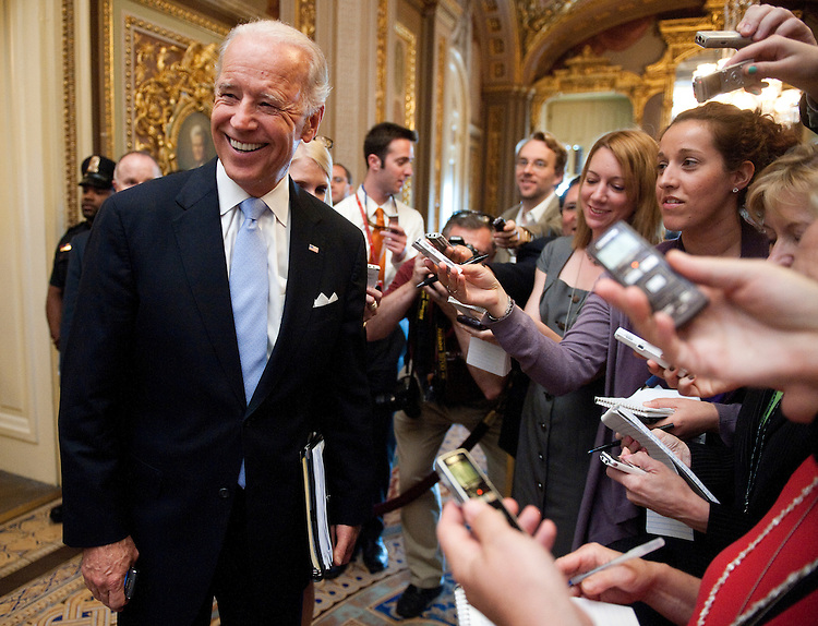 UNITED STATES - MAY 24: Vice President Joe Biden stops to speak with reporters as he leaves the Capitol following budget talks with House and Senate members on Tuesday, May 24, 2011. (Photo By Bill Clark/Roll Call)