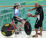 Rio de Janeiro-3/9/2016-Marie-Claude Molnar talks with coach Eric Van Den Eynde before her cycling event at the Rio 2016 Paralympic Games at the Barra Velodrome. Photo Scott Grant/Canadian Paralympic Committee