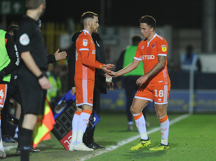 Blackpool's John O'Sullivan looks frustrated as he's substituted for Harry Pritchard (left) <br /> <br /> Photographer Kevin Barnes/CameraSport<br /> <br /> The EFL Sky Bet League One - AFC Wimbledon v Blackpool - Saturday 29th December 2018 - Kingsmeadow Stadium - London<br /> <br /> World Copyright © 2018 CameraSport. All rights reserved. 43 Linden Ave. Countesthorpe. Leicester. England. LE8 5PG - Tel: +44 (0) 116 277 4147 - admin@camerasport.com - www.camerasport.com