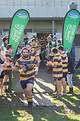 Joe Royal leads the patumahoe team out for the Counties Manukau Premier Club Rugby game between Manurewa and Patumahoe, played at Mountfort Park Manurewa on Saturday June 23rd 2018. Patumahoe won the game 29 - 24 after trailing 12 - 19 at halftime.<br /> Manurewa Kidd Contracting 24 - Petelo Ikenasio, David Osofua, Paolelei Luteru, Pisi Leilua tries, Timothy Taefu 2 conversions,<br /> Patumahoe Troydon Patumahoe Hotel 29 - Kalim North, Shea Furniss, Jonny Wilkinson, Mark Royal, James Brady tries,  Broc Hooper 2 conversions.<br /> Photo by Richard Spranger
