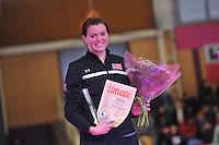 SCHAATSEN: BERLIJN: Sportforum, 08-12-2013, Essent ISU World Cup, podium 1000m Ladies Division A, track record, Heather Richardson (USA), ©foto Martin de Jong