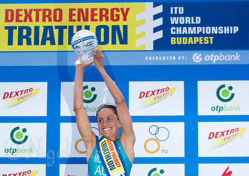 12 SEP 2010 - BUDAPEST, HUN - Emma Moffatt (AUS) celebrates winning the 2010 Elite Womens ITU World Championship Triathlon Series (PHOTO (C) NIGEL FARROW)