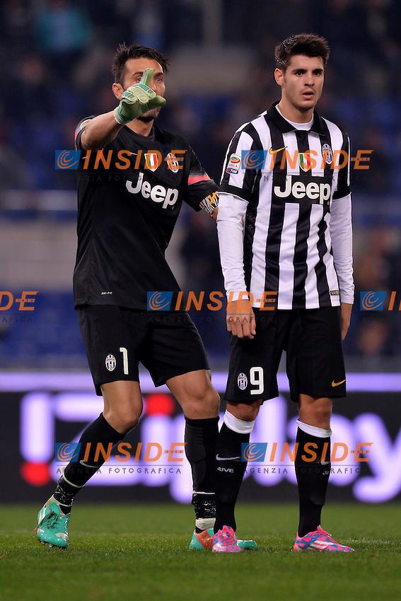 Gianluigi Buffon Juventus con Alvaro Morata.<br /> Roma 22-11-2014 Stadio Olimpico. Football Calcio 2014/2015 Serie A. Lazio - Juventus. Foto Antonietta Baldassarre / Insidefoto