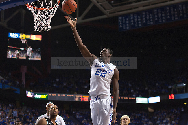 Forward Alex Poythress of the Kentucky Wildcats shoots during the second half of the game against the University of Georgetown Tigers at Rupp Arena on Sunday, November 9, 2014 in Lexington, Ky. Kentucky defeated Georgetown 121-52. Photo by Michael Reaves | Staff