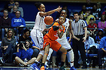 18 January 2015: Miami's Suriya McGuire (33) is guarded by Duke's Azura Stevens (left) and Amber Henson (behind). The Duke University Blue Devils hosted the University of Miami Hurricanes at Cameron Indoor Stadium in Durham, North Carolina in a 2014-15 NCAA Division I Women's Basketball game. Duke won the game 68-53.