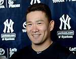 Masahiro Tanaka (Yankees),<br /> FEBRUARY 21, 2015 - MLB :<br /> Masahiro Tanaka of the New York Yankees is interviewed by the press after practice during the New York Yankees spring training camp in Tampa, Florida, United States. (Photo by AFLO)