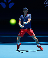 3rd January 2020; RAC Arena, Perth, Western Australia; ATP Cup Australia, Perth, Day 1,; USA v Norway Casper Ruud of Norway prepares for the serve of John Isner of the USA - Editorial Use