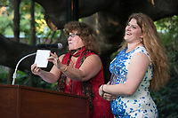 Mandy and Kelsey Boesche accept Roger Boesche's Honorary Seal Award for Emeriti Faculty.<br /> Occidental College alumni gathered for class reunions from June 23-25, 2017 as part of Alumni Reunion Weekend. Alums shared memories, honored the Seal Award winners and had fun dancing with Oswald!<br /> (Photo by Marc Campos, Occidental College Photographer)