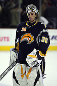 February 17th 2007:  Ryan Miller (30) of the Buffalo Sabres waits for the Bruins to return from the locker room after officials reviewed a goal vs. the Boston Bruins at HSBC Arena in Buffalo, NY.  The Bruins defeated the Sabres 4-3 in a shootout.