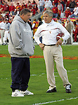 Los Angeles, CA 11/25/06 - Meeting of Head Coaches, Pete Carroll and Charlie Weiss, before the USC-Notre Dame game at the Los Angeles Colisseum<br />
