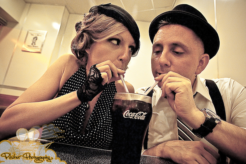 Jessica Lillesand and Wade Baugher on Saturday, April 17, 2010, during their engagement session at Johnny Rockets, in Orlando, Florida. Their e-session started at the Gator Hotel, then to Twistee Treat, historic downtown Kissimmee, Old Town, and then Johnny Rockets in Orlando. Their wedding is Saturday, May 8, 2010. (Chad Pilster, http://www.PilsterPhotography.net.)