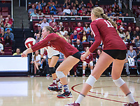 STANFORD, CA - November 3, 2018: Meghan McClure, Kate Formico, Morgan Hentz at Maples Pavilion. No. 1 Stanford Cardinal defeated No. 15 Colorado Buffaloes 3-2.