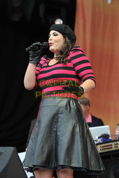 Caro Emerald.Performing live at BBC Radio 2 Live in Hyde Park, London, England..September 11th, 2011.stage concert live gig performance music half length black leather skirt pink top stripe gloves hat beret singing.CAP/MAR.© Martin Harris/Capital Pictures.