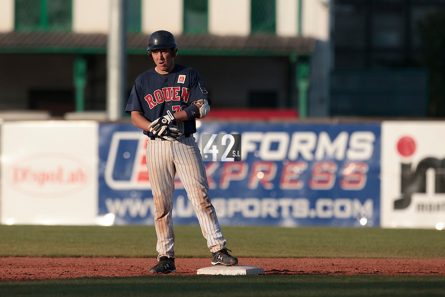 06 June 2010: Boris Marche of Rouen is seen on base during the 2010 Baseball European Cup match won 10-8 by the Rouen Huskies over AVG Draci Brno, at the AVG Arena, in Brno, Czech Republic.