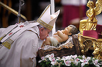 Pope Francis  during the mass. the Solemnity of Epiphany at St Peter's basilica at the Vaticanon January 6, 2013