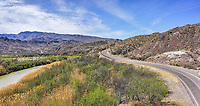 Love this aerial panorama view of the Rio Grande river as the river road snakes along side looking out past the Mexico and US mountains along the way.