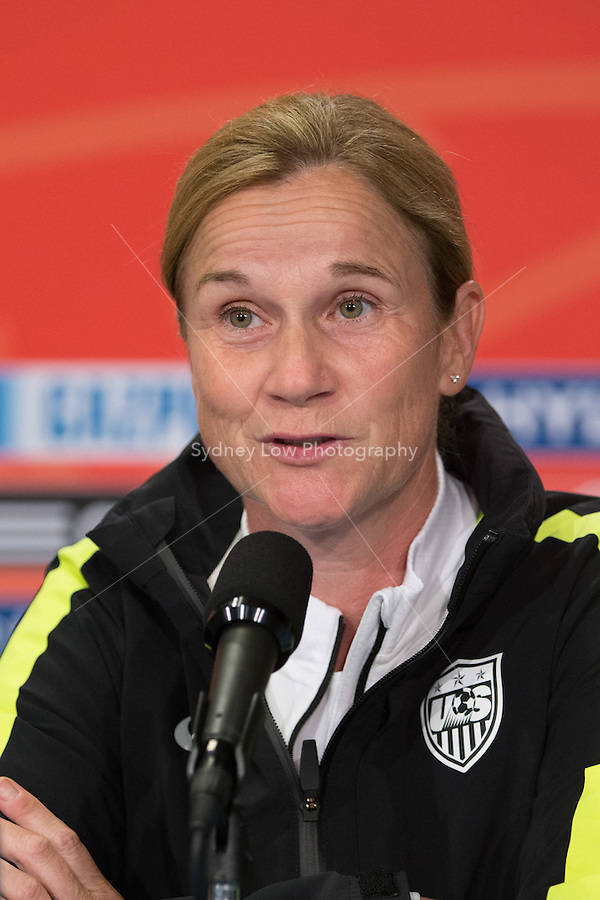 June 15, 2015: Jill ELLIS coach of the USA team speaks at a press conference prior to a Group D match at the FIFA Women's World Cup Canada 2015 between Nigeria and the USA at BC Place Stadium on 16 June 2015 in Vancouver, Canada. Sydney Low/Asteriskimages.com