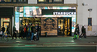A Starbucks Coffee Cafe in Herald Square in New York on Tuesday, December 22, 2015.(© Richard B. Levine)