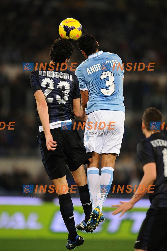 Andre Dias Lazio, Andrea Ranocchia Inter.<br /> Roma 06-01-2014 Stadio Olimpico. Football Calcio 2013/2014 Serie A. Lazio - Inter. Foto Antonietta Baldassarre / Insidefoto