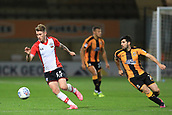3rd October 2017, The Abbey Stadium, Cambridge, England; Football League Trophy Group stage, Cambridge United versus Southampton U21; Callum Slattery of Southampton takes on Piero Mingoia of Cambridge United