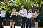 Sabrosura, Duke's Latin dance troupe, performs in the Mezcla Cultural Showcase on the Abele Quad during Latino Student Recruitment Weekend.