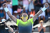 11th January 2018, ASB Tennis Centre, Auckland, New Zealand; ASB Classic, ATP Mens Tennis;  David Ferrer (ESP) celebrates his win over Hyeon Chung (KOR) during the ASB Classic ATP Men's Tournament Day 4 Quarter Finals