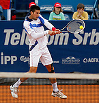 Tenis, Serbia Open 2011.Final.Novak Djokovic (SRB) Vs. Feliciano Lopez (ESP).Feliciano Lopez, returns the ball.Beograd, 01.05.2011..foto: Srdjan Stevanovic