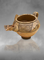Decorated terra cotta tree handled vessel with a spout - 19th to 17th century BC - Kültepe Kanesh - Museum of Anatolian Civilisations, Ankara, Turkey.